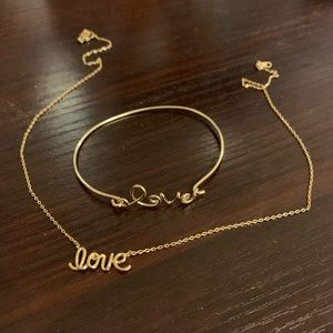 Gold plated love necklace and bracelet set